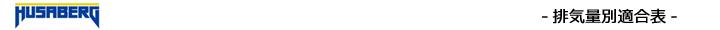 排気量別エボリューション適合表(フサベル)