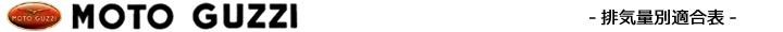排気量別エボリューション適合表(モトグッチ)